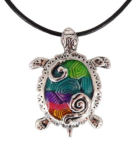 DianaL Boutique Sea Turtle Large Pendant Necklace Enameled Hand Painted on 18