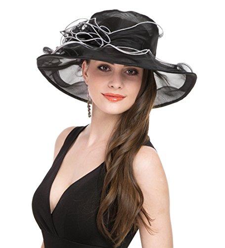 - SAFERIN Women's Organza Church Kentucky Derby Hat Feather Veil Fascinator Bridal Tea Party Wedding Hat (YW-Balck White Line)