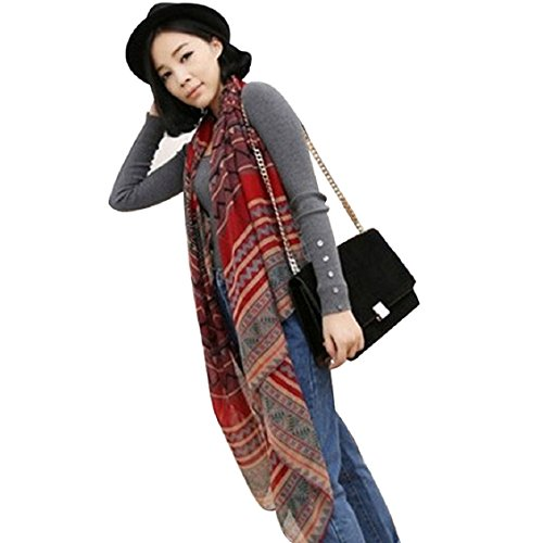 Lowpricenice Korean National Wind Printing Cotton Scarf Shawls Paragraph (Red)