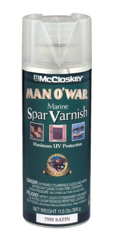 McCloskey 7555 Man O'War Spar Marine Varnish, 11.5-Ounce Spray, Clear - Exterior Spar Varnish