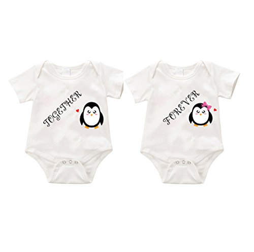 SIZZLE Together Forever Dual Twin funny onesie Romper Birthday Halloween (18-24months, -
