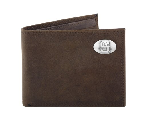- NCAA North Carolina State Wolfpack Zep-Pro  Crazyhorse Leather Bifold Concho Wallet, Light Brown
