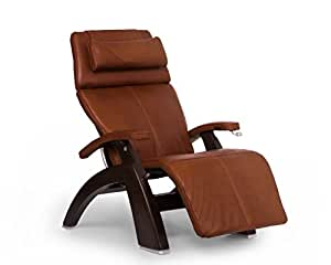 "Perfect Chair ""PC-420"" Premium Full Grain Leather Hand-Crafted Zero-Gravity Dark Walnut Manual Recliner, Cognac"