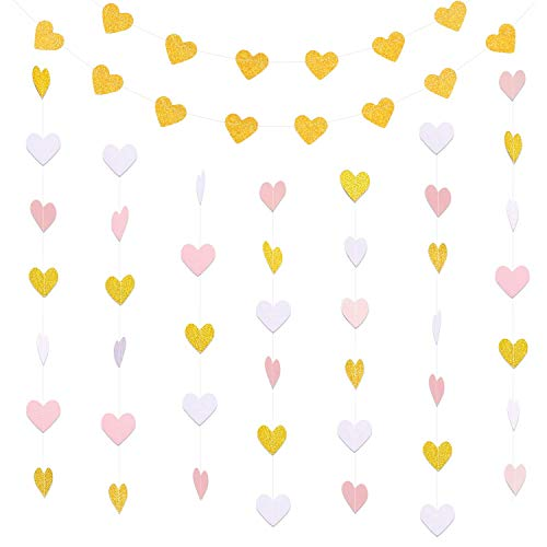 Hestya 2 Pack Paper Heart Garlands Heart Hanging Banner Bunting for Valentine's Day Wedding Party Decoration, 10 Feet Each, Vertical White and Pink, Horizontal Glitter Gold ()