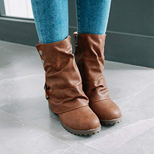 Short Boots Girls Leather Patchwork Shoes Brown Fashion Autumn Boots Leather Warm Women Buckle Artificial wEqqaHCx