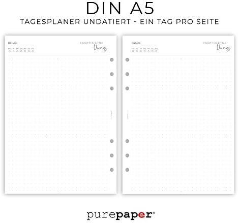 Kalendereinlagen UNDATIERT 1T1S für Organizer/Ringplaner – 50 Blatt | DIN A5, 6-fach Lochung, 120 g Premium Papier