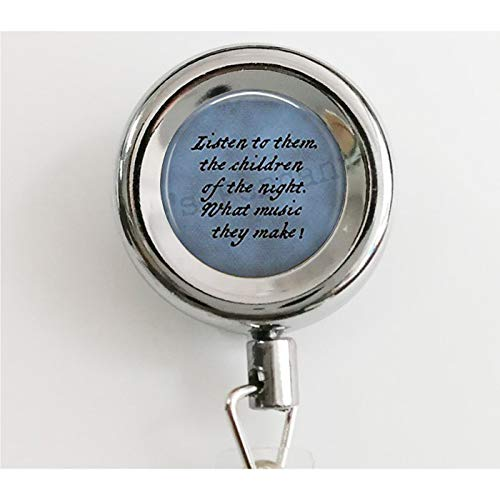 Dracula Quote Adjustable Ring- Listen to Them, The Children of The Night. Halloween Jewelry - Goth Jewelry - Bram Stoker - Literary Jewelry Retractable Badge Reel with Waterproof ID Holders & Keychain