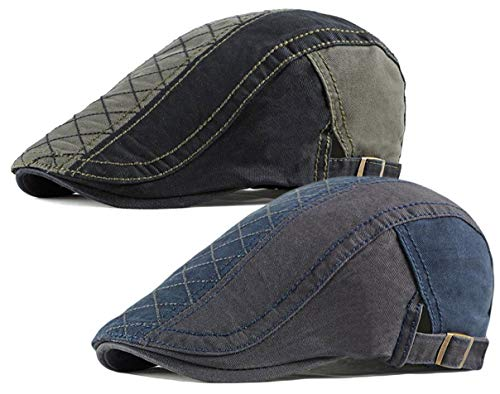 Qunson 2 Pack Men's Cotton Flat Cap Ivy Gatsby Newsboy Hat (M) - Ivy Flat Cap