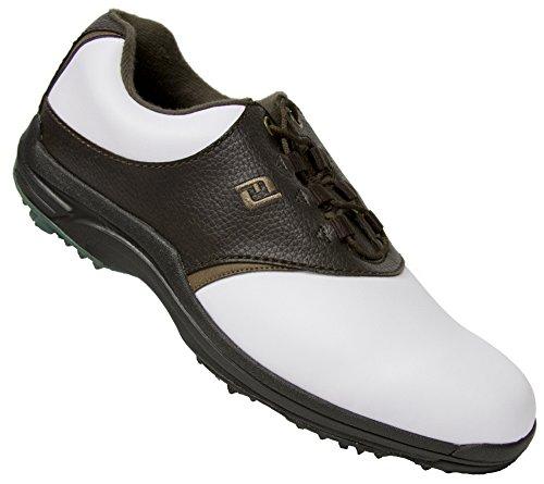 FootJoy CLOSEOUT GreenJoys Men's Golf Shoes - White Dark Brown