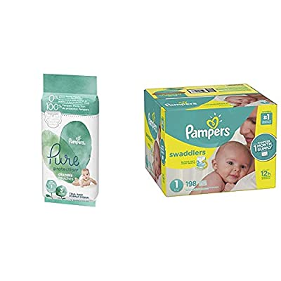 Pampers Pure Disposable Baby Diapers Size 1, 3 Count and Swaddlers Disposable Diapers Size 1, 198 Count