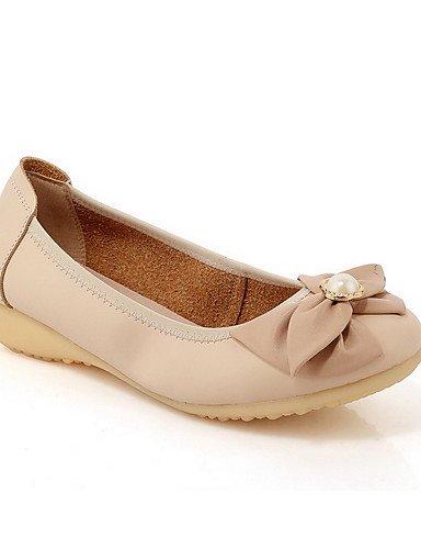 GGX/ Damen-High Heels-Lässig-Kunststoff-Flacher Absatz-Flache Schuhe-Schwarz / Weiß / Beige / Mandelfarben white-us5 / eu35 / uk3 / cn34