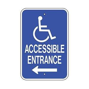 amazon com 12 x18 handicap accessible entrance sign arrow left