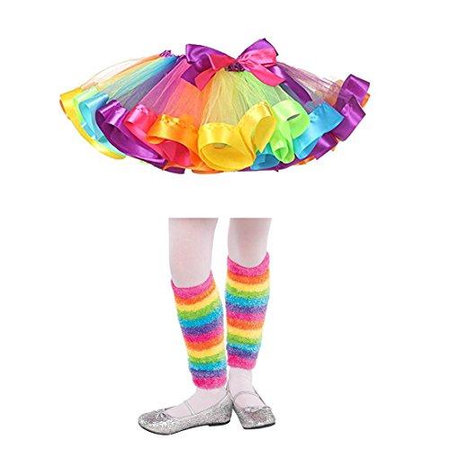 Furry Skirt (Girls Rainbow Tutu Skirt Dance Ballet Dress Furry Leg Warmers Hair Bows Clips Costume Set (L, Set A))