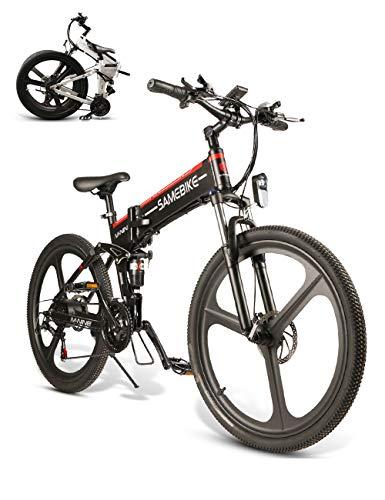 🥇 SAMEBIKE Bicicleta de montaña eléctrica 26 Pulgadas Rueda Plegable Ebike 350W 48V 10AH Bicicletas eléctricas de montaña para Adultos