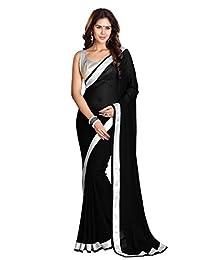 Mirchi Fashion Women's Georgette Lace Work Wedding Partywear Indian Saree