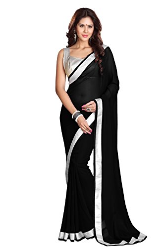 Mirchi Fashion Women's Georgette Lace Indian Ethnic Wear Saree Free Size Black ()