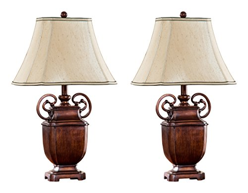 Kings Brand 26″H Antique Brushed Red With Light Brown Fabric Shade Table Lamps, Set Of 2