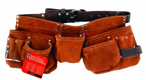 Task Tools T77260 Carpenter's Apron with Leather Belt, 11-Pocket