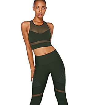 Lorna Jane Women's Amelia Sports Bra, Fig Green, L