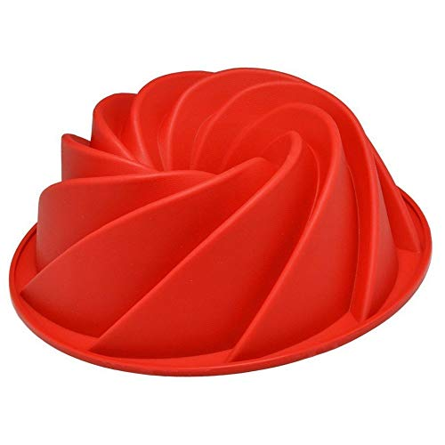 Swirl Fluted - Weelongha Large Spiral shape Bundt Cake Pan Bread Chocolate Bakeware Silicone Mold Swirl Butter Baking Mould Pastry Ring Tray Chocolate Bake Fluted Red