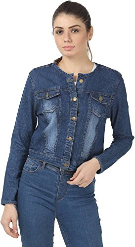 e22ee77f3f9d2 Trendy frog Women's Denim Chinese Collar Full Sleeves Dark Jacket (Blue,  Small)