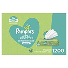 Baby Wipes, Pampers Complete Clean UNSCENTED 15X Pop Top, Hypoallergenic and Dermatologist-Tested, 1200 Count