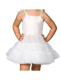 I.C. Collections Little Girls White Bouffant Slip Petticoat - Extra Full, 6