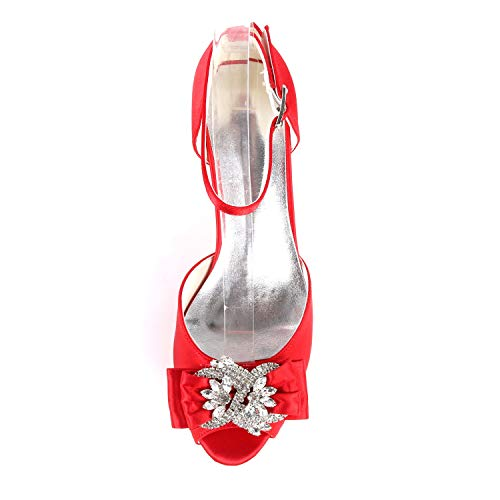 Tacones 6cm Buckle Boda 43 Heel Toe De 35 Altos Mujer Kitten Cordón Peep Silver L Zapatos Satén yc HqZq6P