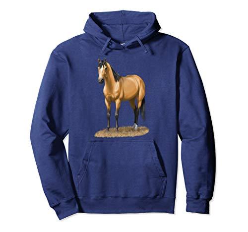 Beautiful Buckskin Dun Quarter Horse Stallion Horse Lovers Pullover Hoodie ()