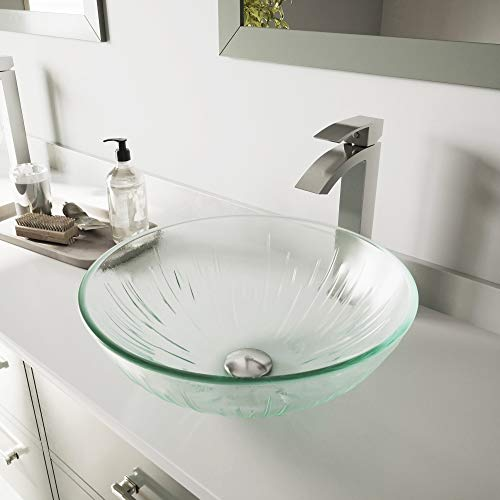 VIGO Icicles Glass Vessel Bathroom Sink and Duris Vessel Faucet with Pop Up, Brushed Nickel