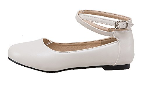 AgooLar Damen Rund Zehe Ohne Absatz Blend-Materialien Rein Schnalle Pumps Schuhe Weiß