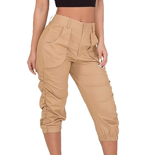 (JOFOW Cargo Pants Womens Solid Midi Loose Slim High Waist Military Trousers Cool Chino Casual Pleated Capri Cigarette Pant (2XL,Khaki))