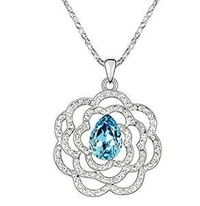 sojewe largo flor Mujer Collar azul cristal de caída sobre colgante chapado en oro blanco accesorios de moda regalo para esposa novia