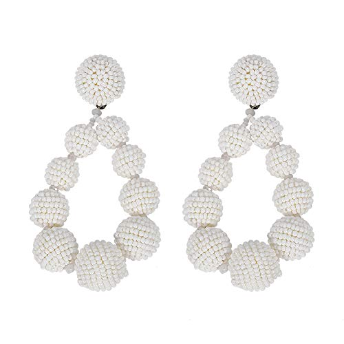 BEST LADY Statement Beaded Hoop Earrings - Fashion Bohemian Handmade Whimsical Drop Earrings for Women Jewelry, Idear Gifts for Mom, Sisters and Friends (White Ball) ()