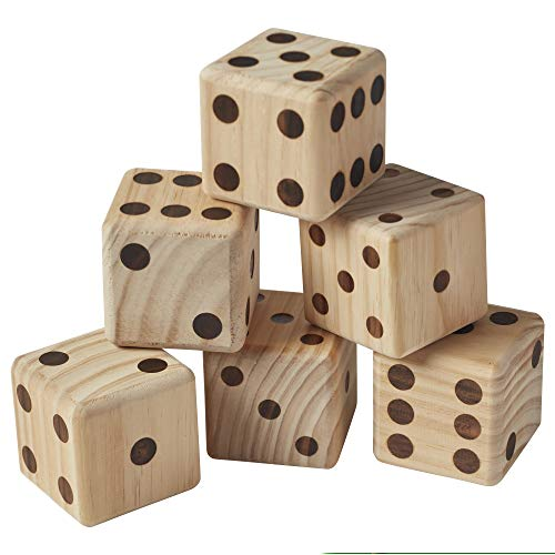 Life Game Of Dice (ECR4Kids Giant Wooden Yard Dice Set for Lawn Games - 6 Jumbo Playing Dice with Dry-Erase Score Card and Canvas Carrying Bag)
