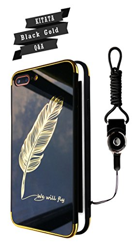 iPhone 7 Plus Case iPhone 8 Plus Case Black and Gold Feather