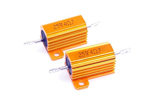 LM YN 25 Watt 4 Ohm 5% Wirewound Resistor Electronic Aluminium Shell Resistor Gold for Inverter LED lights Frequency Divider Servo Industry Industrial Control 2-Pcs