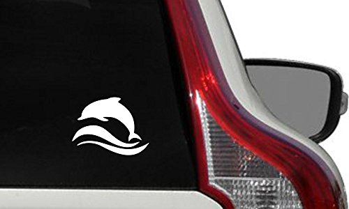 Whale Dolphin Waves Version 1 Car Vinyl Sticker Decal Bumper Sticker for Auto Cars Trucks Windshield Custom Walls Windows Ipad Macbook Laptop Home and More (WHITE)