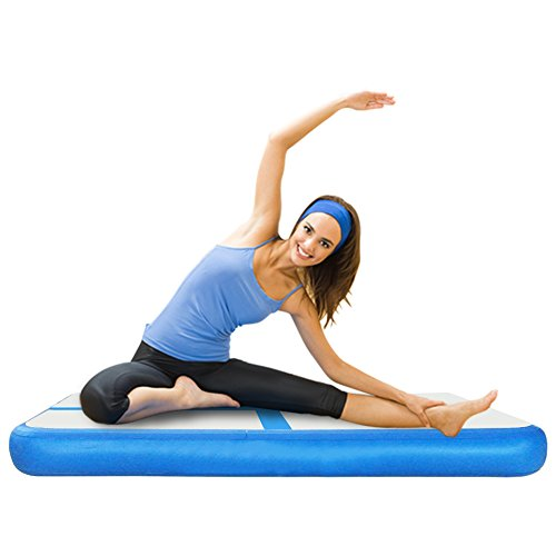 Xmas PROMO LINSGROUP Inflatable Gymnastic Airtrack Tumbling Mat Air Floor Yoga Mat Track For Home use Gymnastics Training/Taekwondo/Cheerleading/Yoga on water/Beach/Park with Free Electrical Pump