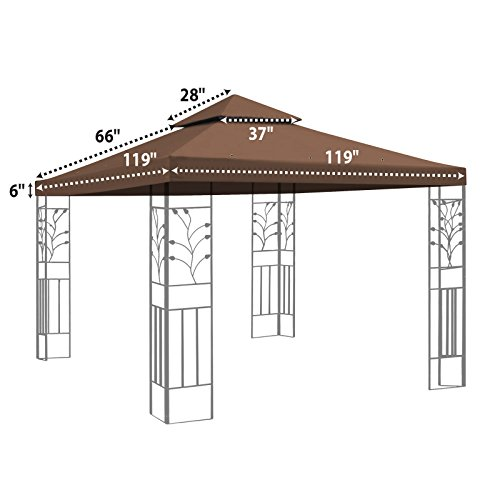 Brown double tier replacement 10 39 x10 39 gazebo canopy top for Garage opel orleans