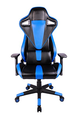 KILLABEE Racing Style Gaming Chair – 180° Back Adjustment Ergonomic High Back E-Sports Executive Computer Desk Leather Office Chair with 3-D Arms and Detachable Lumbar Support (Blue&Black)