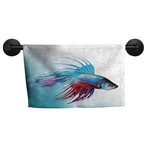 "alisoso Aquarium,Hand Towels Siamese Fighting Betta Fish Swimming in Aquarium Aggressive Sea Animal Fast Drying Fitness Hand Towels W 20"" x L 20"""