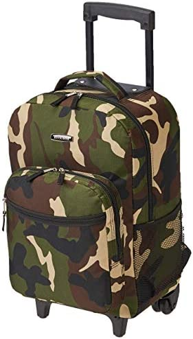 Rockland Double Handle Rolling Backpack, Camouflage, 17-Inch