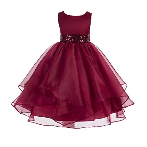 ekidsbridal Asymmetric Ruffled Organza Sequin Flower Girl Dress Toddler Girl Dresses 012S 4 Apple Red ()