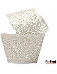 Cupcake Wrappers 100 Filigree Artistic Bake Cake Paper Cups Little Vine Lace Laser Cut Liner Baking Cup Muffin Case Trays for Wedding Party Birthday Decoration (White)