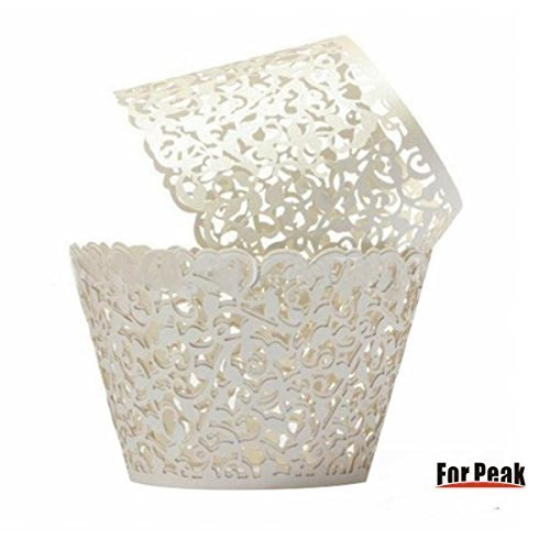 Cupcake Wrappers 100 Filigree Artistic Bake Cake Paper Cups Little Vine Lace Laser Cut Liner Baking Cup Muffin Case Trays for Wedding Party Birthday Decoration (White) - Jumbo Cupcake Wrappers