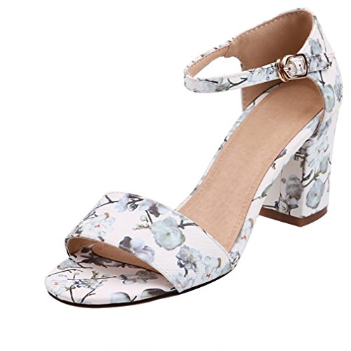 Calaier Women Catxat Peep-Toe 7.5CM Block Heel Buckle Sandals Shoes White hV1loA