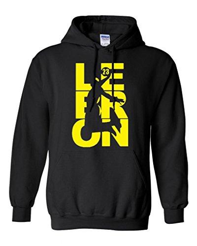City Shirts Mens Lebron Cleveland Fan Wear Sweatshirt Hoodie M BK w/YW (Medium, Black w/Yellow)