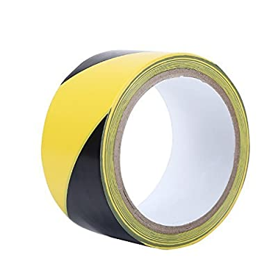 TopSoon Strong Adhesive Black and Yellow Hazard Warning Safety Stripe Tape 2-Inch by 18-Yard Roll Floor Tape Striped Caution Tape from YINFENG PLASTIC