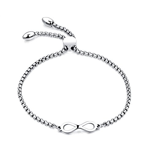 Gagafeel Stainless Steel Women Girl Bracelet Adjustable Chain Infinity Symbol Charm Bar Cuff Love Gift(Vintage Silver)